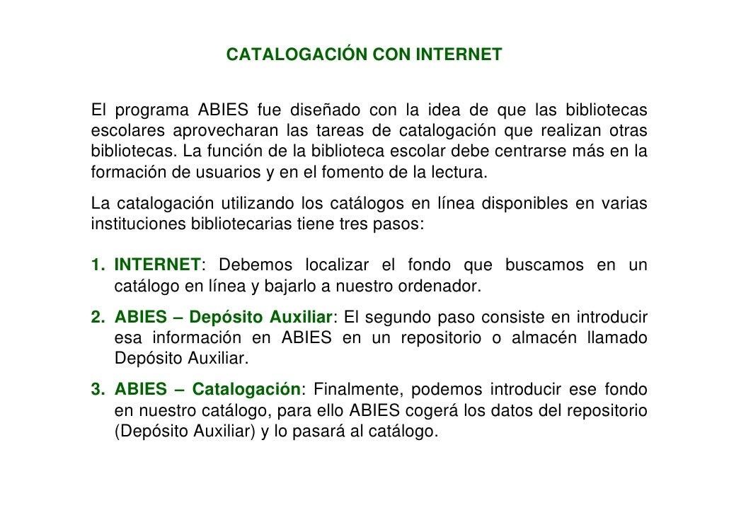 Catalogación con internet