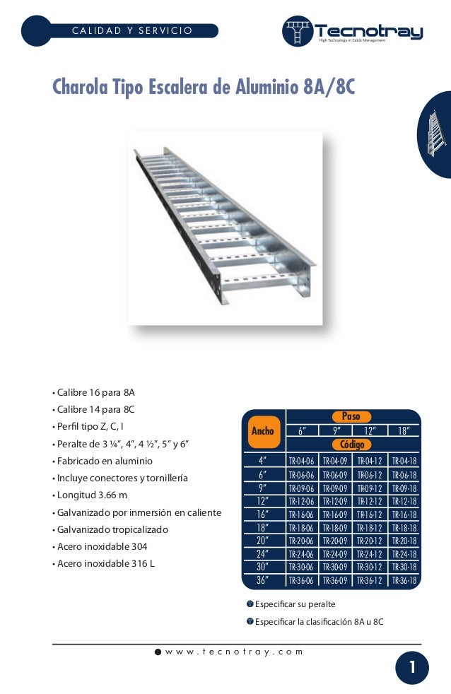 CALIDAD Y SERVICIO  Charola Tipo Escalera de Aluminio 8A/8C  • Calibre 16 para 8A • Calibre 14 para 8C • Perfil tipo Z, C, ...