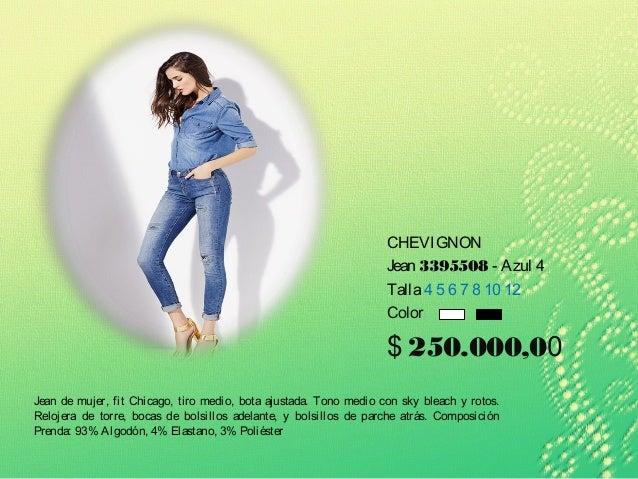 CHEVIGNON Jean 3395508 - Azul 4 Talla4 5 6 7 8 10 12 Color $ 250.000,00 Jean de mujer, fit Chicago, tiro medio, bota ajust...
