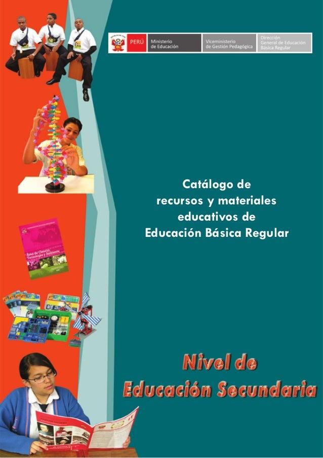 Catálogo de recursos y materiales educativos de Educación Básica Regular