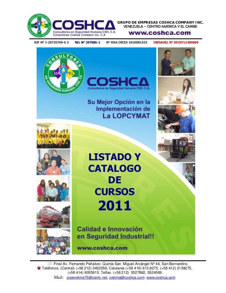 Catalogo Cursos LOPCYMAT Coshca 2011 V2