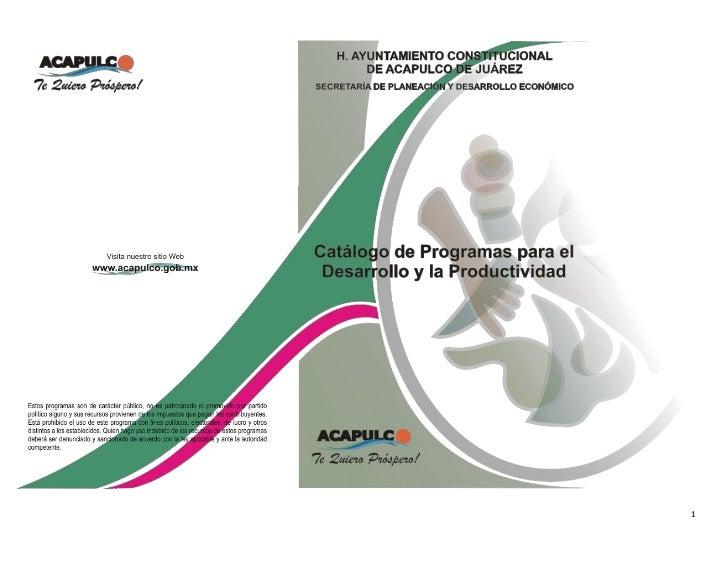 Catálogo de programas para el desarrollo y productividad