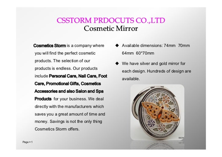 Catalog of cosmetic mirror