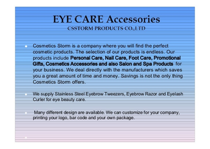 Catalog of eye care accessories