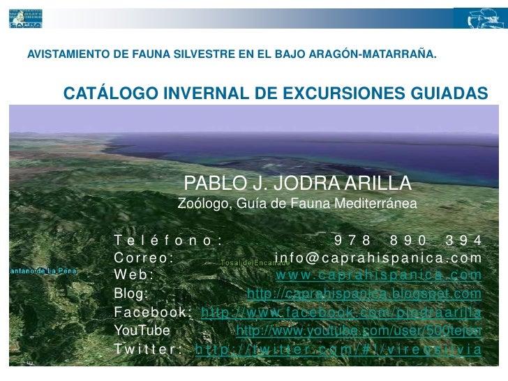 AVISTAMIENTO DE FAUNA SILVESTRE EN EL BAJO ARAGÓN-MATARRAÑA.<br />CATÁLOGO INVERNAL DE EXCURSIONES GUIADAS<br />PABLO J. J...