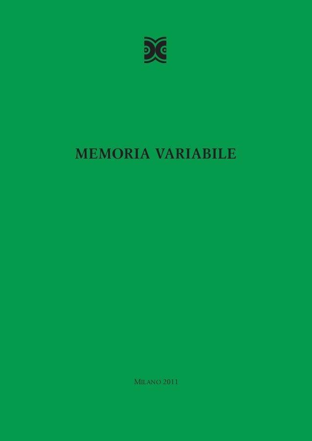 "Catalogo ""Memoria Variabile"""