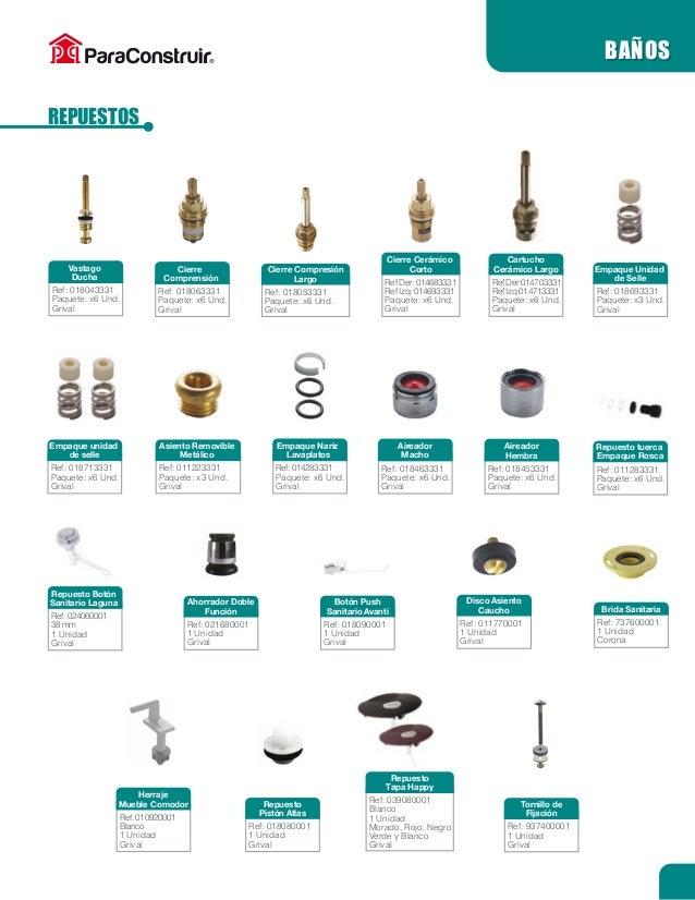 Griferia Para Baño Grival:tanque ref 937513331 paquete x6 und grival baños grifería tanque