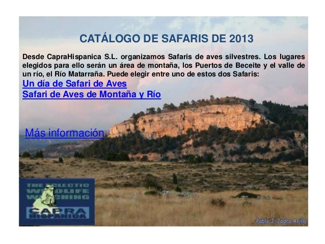 CATÁLOGO DE SAFARIS DE 2013Desde CapraHispanica S.L. organizamos Safaris de aves silvestres. Los lugareselegidos para ello...
