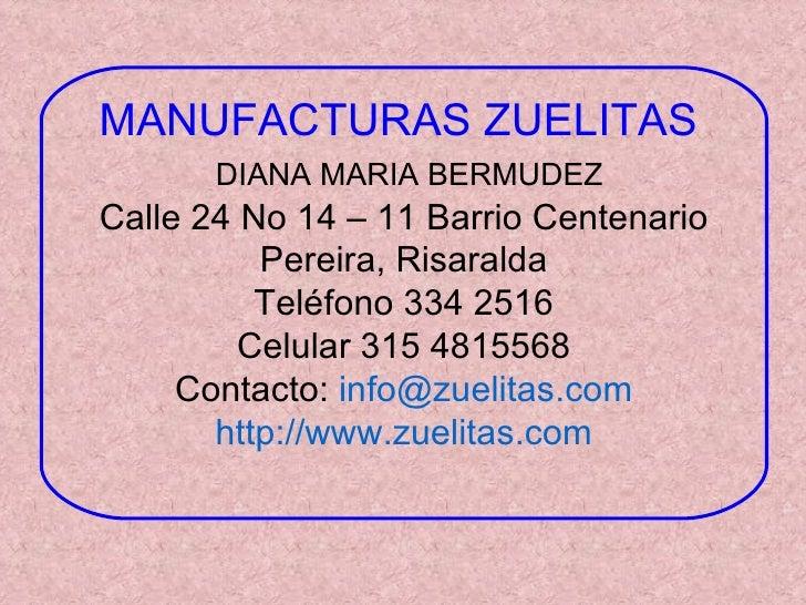 Catalogo Manufacturas Zuelitas