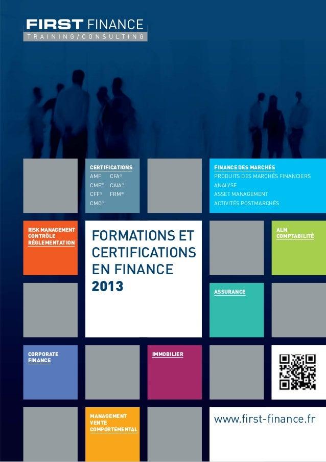 CERTIFICATIONS                    FINANCE DES MARCHÉS                               ®                  AMF       CFA      ...