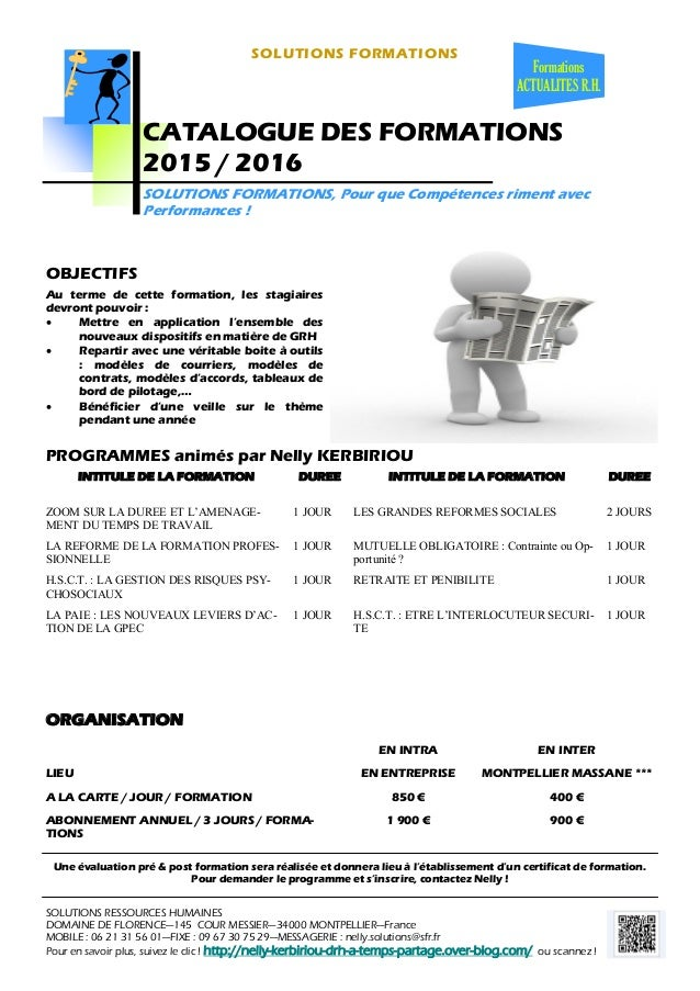 SOLUTIONS FORMATIONS PROGRAMMES animés par Nelly KERBIRIOU Formations ACTUALITES R.H. SOLUTIONS RESSOURCES HUMAINES DOMAIN...