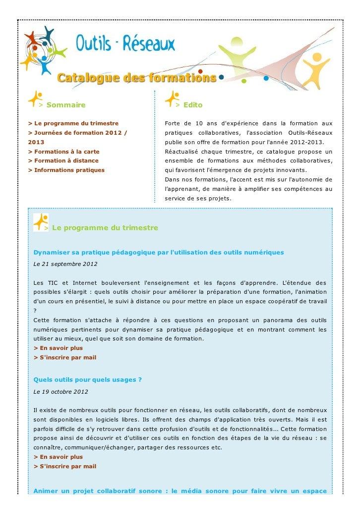 Catalogue des formations outils-réseaux