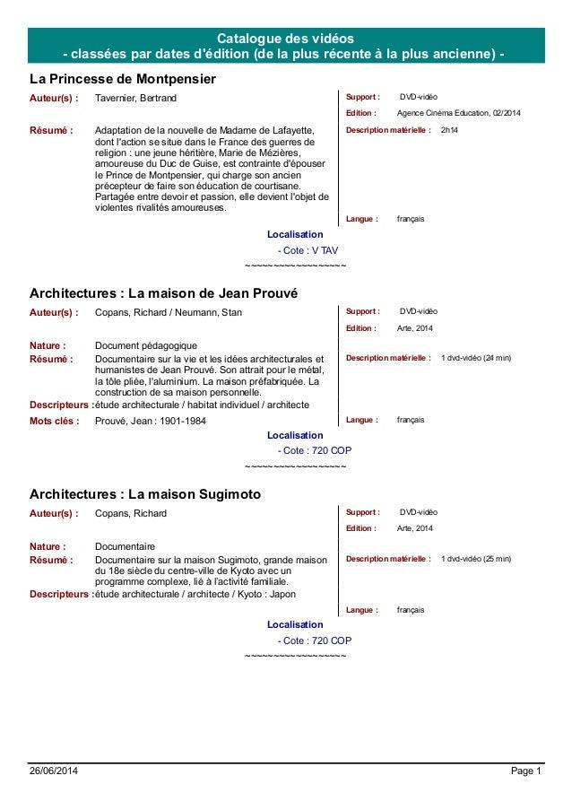 Catalogue des vidéos  - classées par dates d'édition (de la plus récente à la plus ancienne) -  La Princesse de Montpensie...