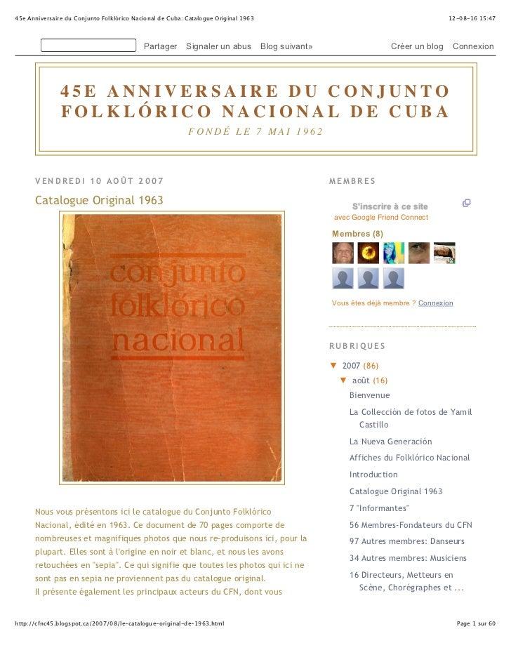 45e Anniversaire du Conjunto Folklórico Nacional de Cuba: Catalogue Original 1963                                         ...