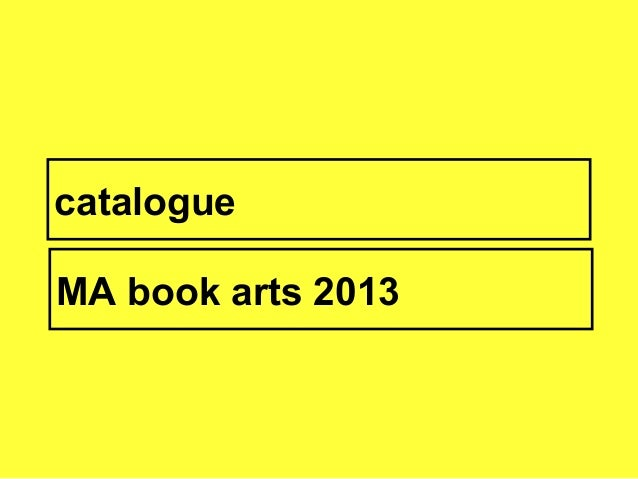 catalogueMA book arts 2013