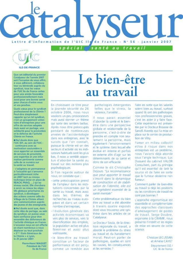 Catalyseur n°56, janvier 2007, spécial Santé au travail