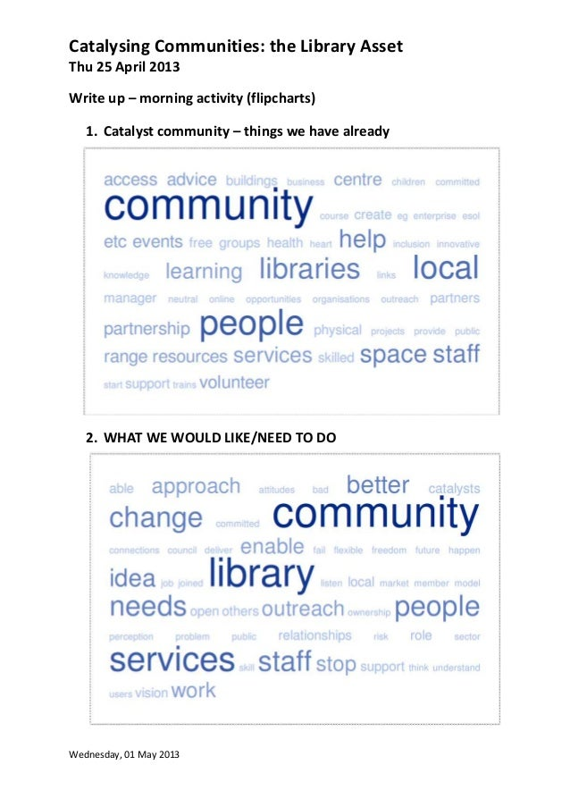 Catalysing Communities: the Library AssetThu 25 April 2013Wednesday, 01 May 2013Write up – morning activity (flipcharts)1....