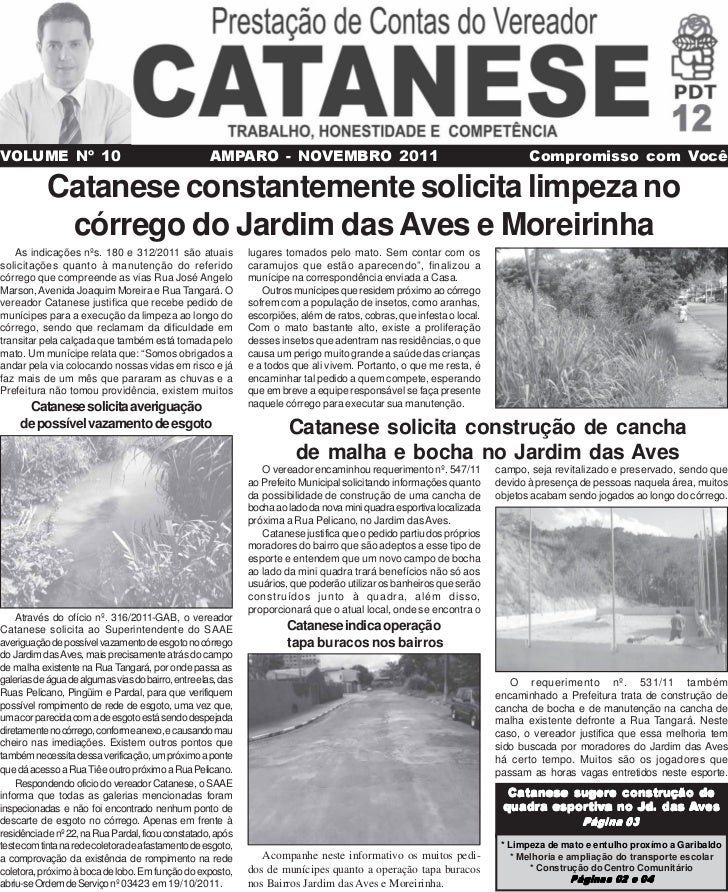 VOLUME Nº 10                                         AMPARO - NOVEMBRO 2011                                               ...