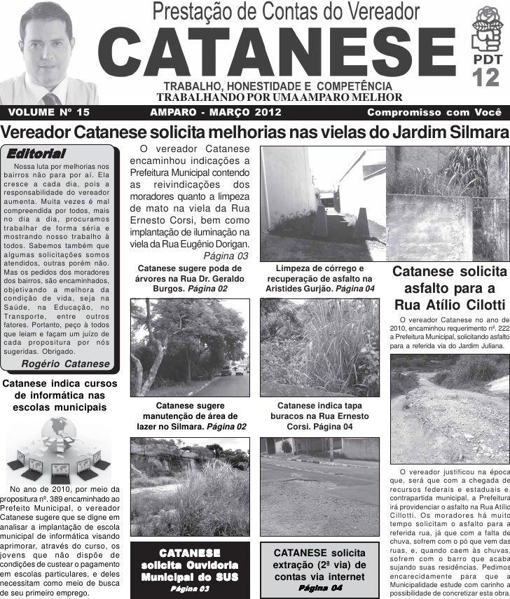 TRABALHANDO POR UMA AMPARO MELHOR  VOLUME Nº 15                           AMPARO - MARÇO 2012                             ...