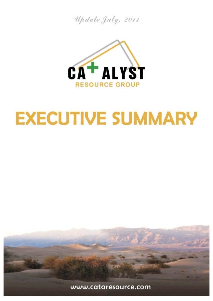 Catalyst Resource Group (OTCBB: CATA) executive-summary www.cataresource.com