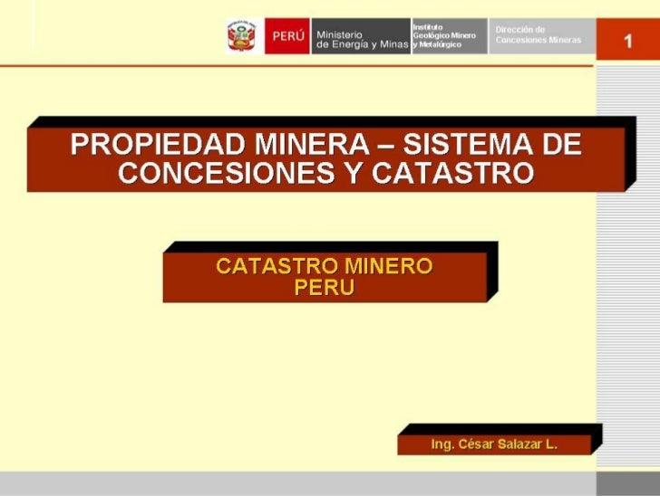 Instituto          Dirección deGeológico Mineroy Metalúrgico                   Concesiones Mineras                        ...