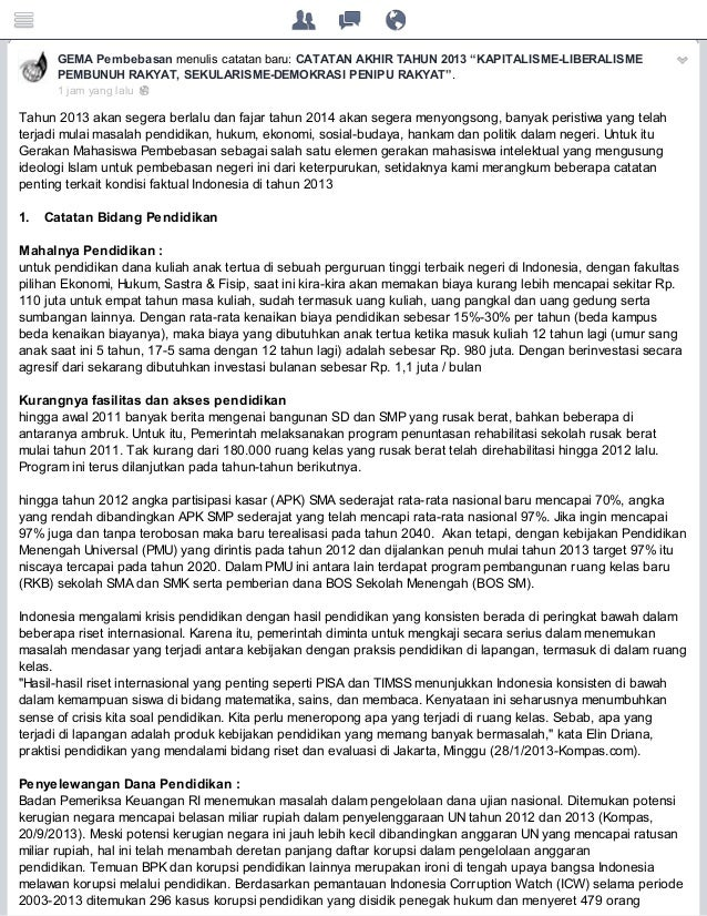 """GEMA Pembebasan menulis catatan baru: CATATAN AKHIR TAHUN 2013 """"KAPITALISME-LIBERALISME PEMBUNUH RAKYAT, SEKULARISME-DEMOK..."""