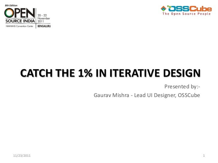 CATCH THE 1% IN ITERATIVE DESIGN                                             Presented by:-                 Gaurav Mishra ...