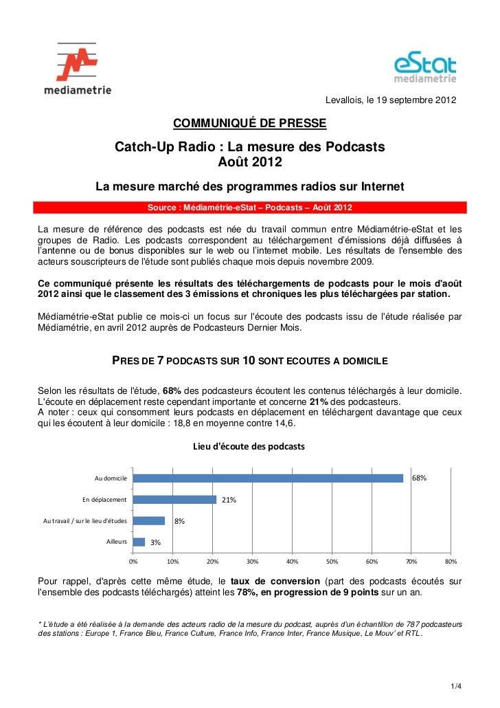 Levallois, le 19 septembre 2012                                                COMMUNIQUÉ DE PRESSE                       ...
