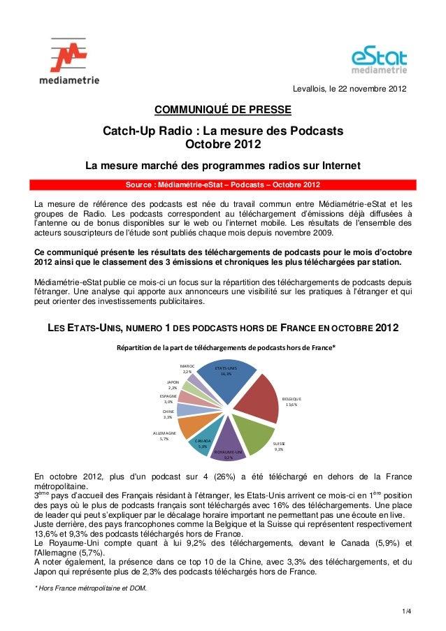 Levallois, le 22 novembre 2012                                       COMMUNIQUÉ DE PRESSE                     Catch-Up Rad...