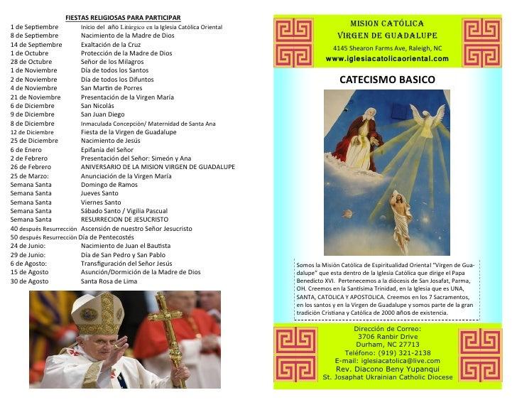 FIESTAS RELIGIOSAS PARA PARTICIPAR1 de Septiembre        Inicio del año Litúrgico en la Iglesia Católica Oriental         ...