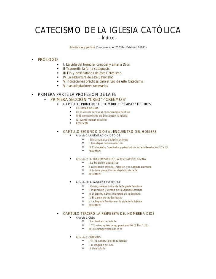 CATECISMO DE LA IGLESIA CATÓLICA                                            - Índice -                    Estadísticas y g...