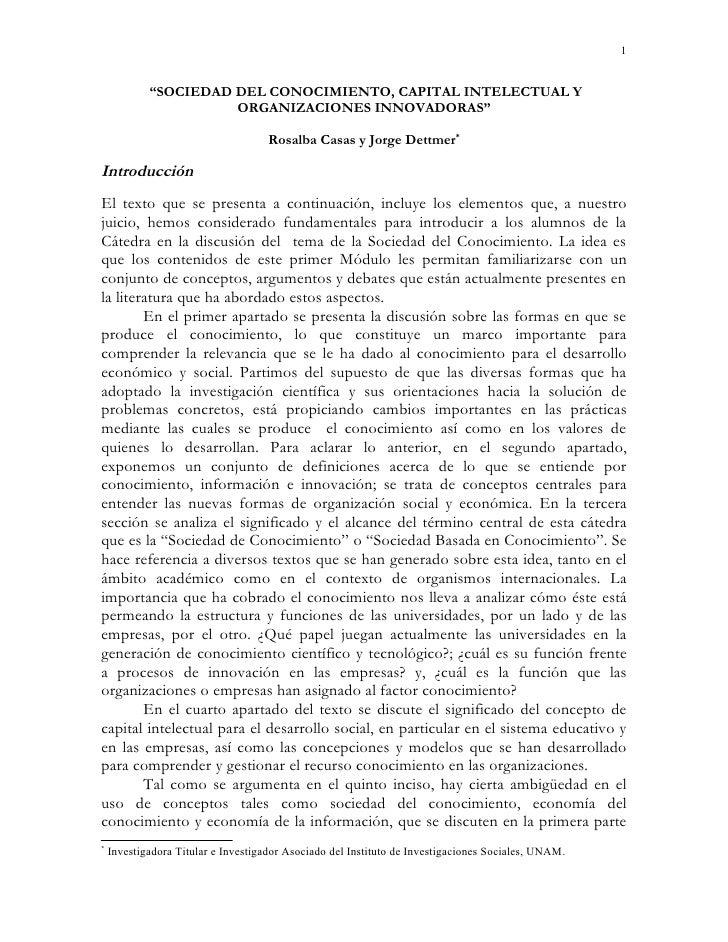 """1            """"SOCIEDAD DEL CONOCIMIENTO, CAPITAL INTELECTUAL Y                      ORGANIZACIONES INNOVADORAS""""           ..."""