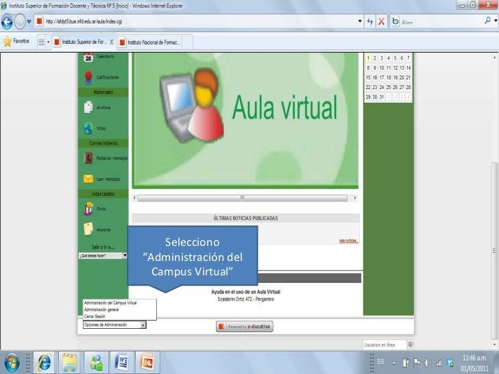 """Selecciono """"Administración del Campus Virtual"""""""