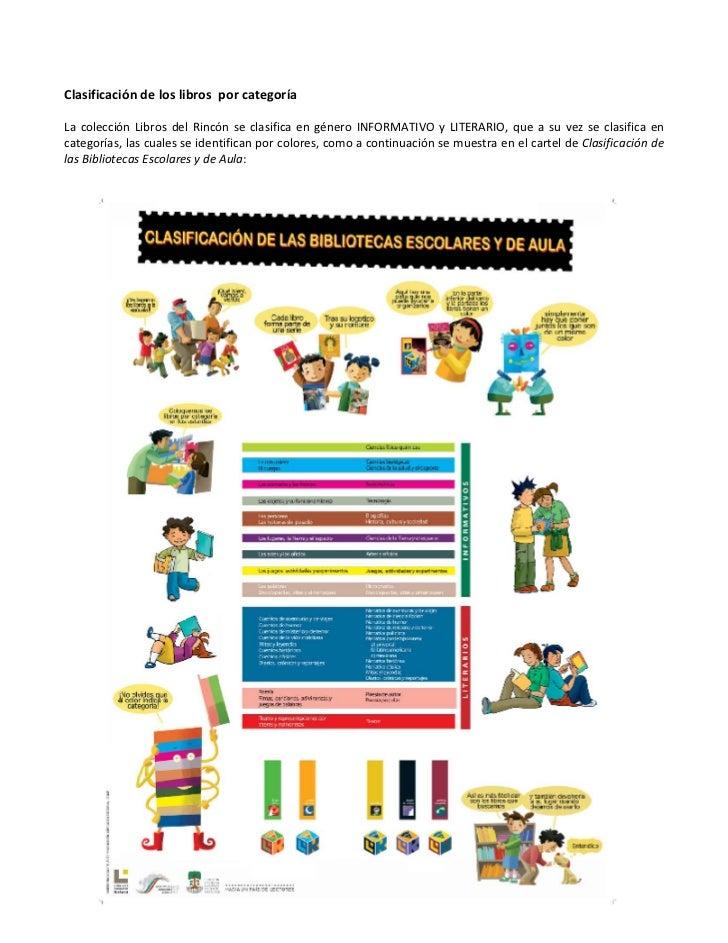 ClasificacióndeloslibrosporcategoríaLa colección Libros del Rincón se clasifica en género INFORMATIVO y...
