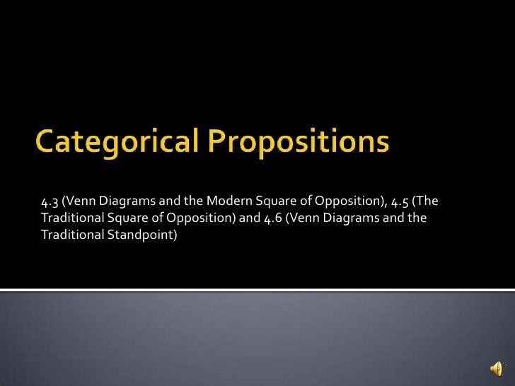 Categorical Propositions<br />4.3 (Venn Diagrams and the Modern Square of Opposition), 4.5 (The Traditional Square of Oppo...