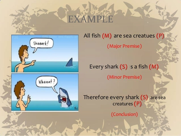 example of syllogism There are other forms of syllogisms in use other examples include disjunctive  syllogism, hypothetical syllogism and polysyllogism we will.