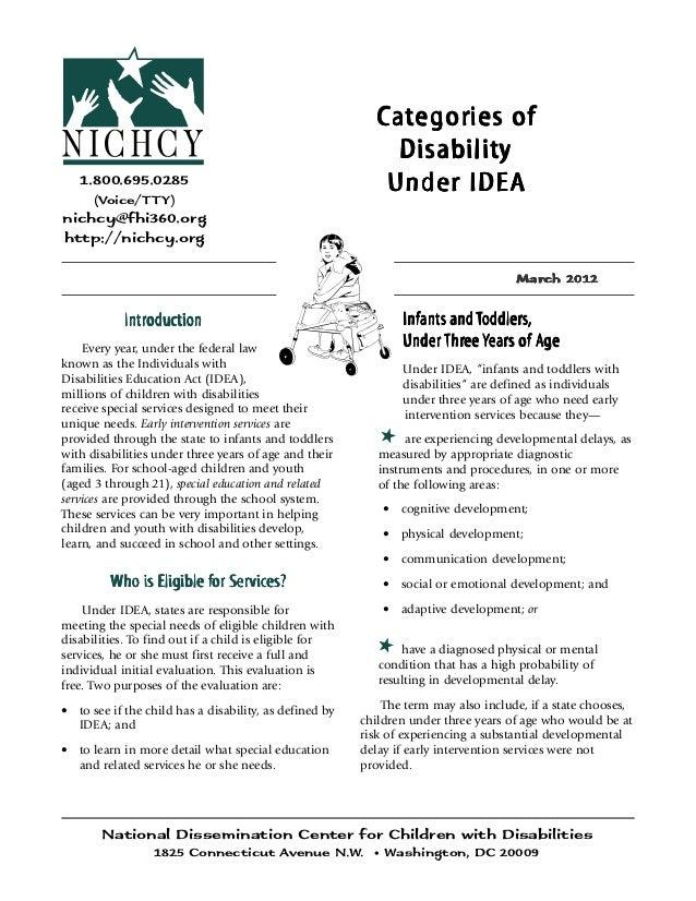 NICHCY: http://nichcy.org 1 Categories of Disability Under IDEA1.800.695.0285(Voice/TTY)nichcy@fhi360.orghttp://nichcy.org...