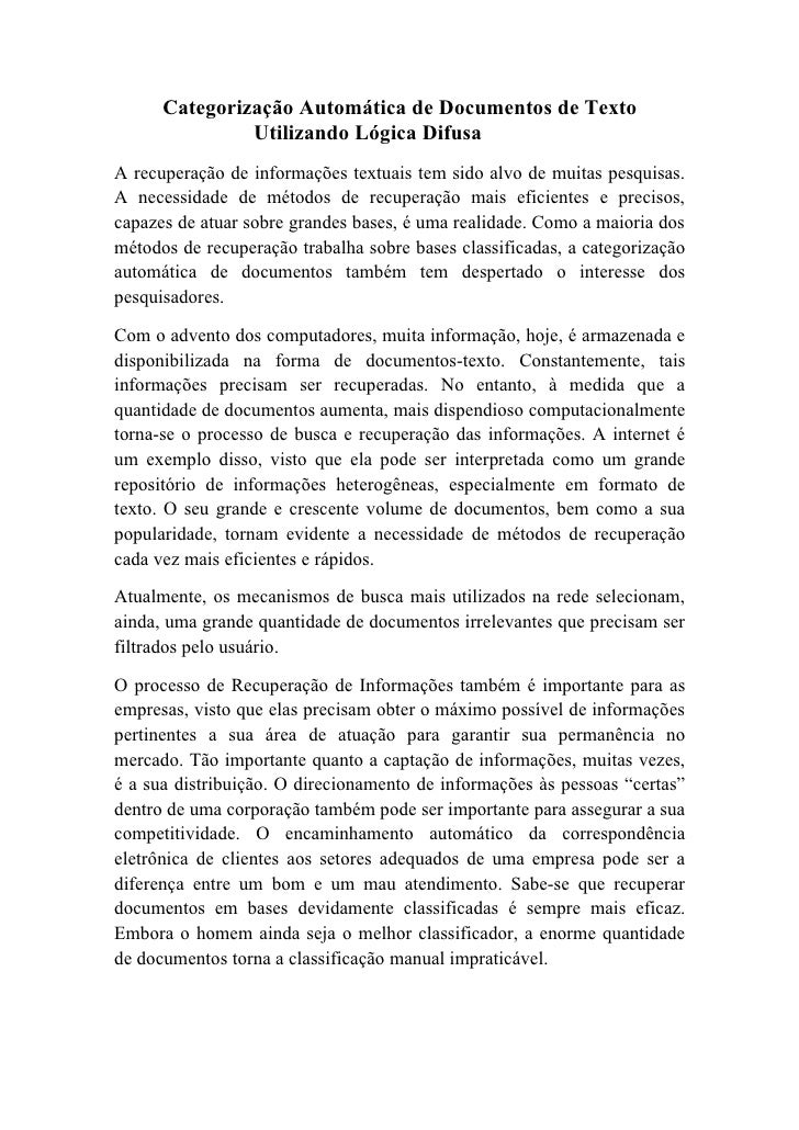 Categorização Automática de Documentos de Texto               Utilizando Lógica DifusaA recuperação de informações textuai...
