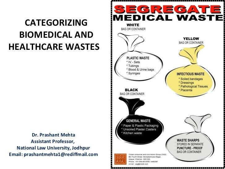 CATEGORIZING  BIOMEDICAL ANDHEALTHCARE WASTES          Dr. Prashant Mehta          Assistant Professor,  National Law Univ...