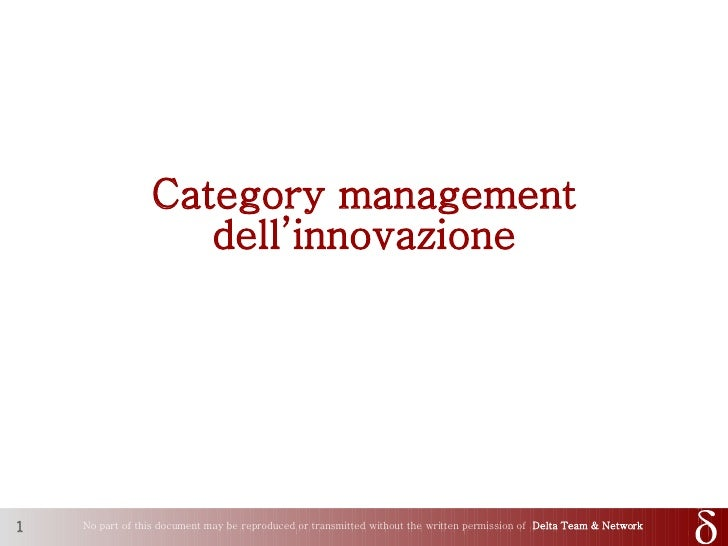 Category management dell\'innovazione