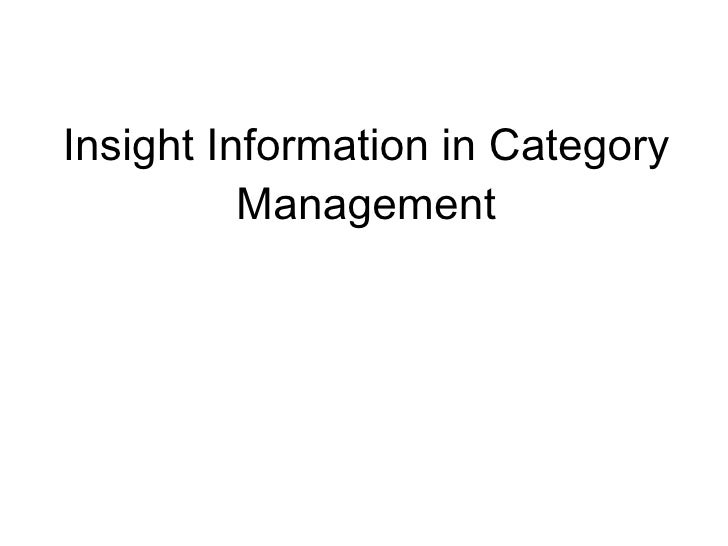 Insight Information in Category Management