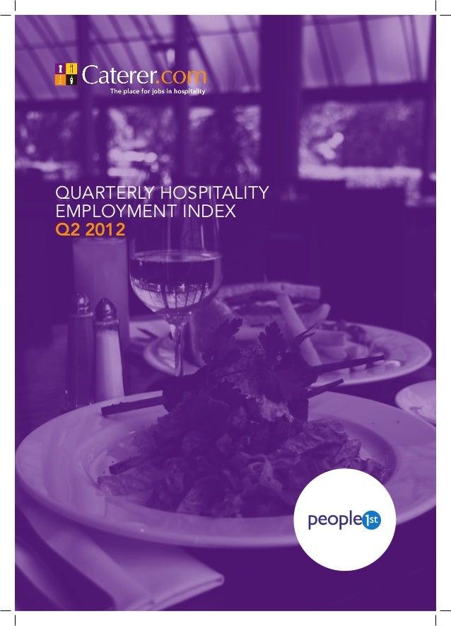 QUARTERLY HOSPITALITYEMPLOYMENT INDEXQ2 2012