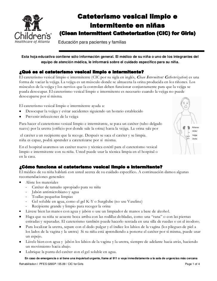 Cateterismo vesical limpio e                                                 intermitente en niñas                        ...