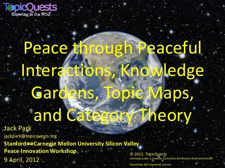 Peace through Peaceful       Interactions, Knowledge         Gardens, Topic Maps,         and Category TheoryJack Parkjack...