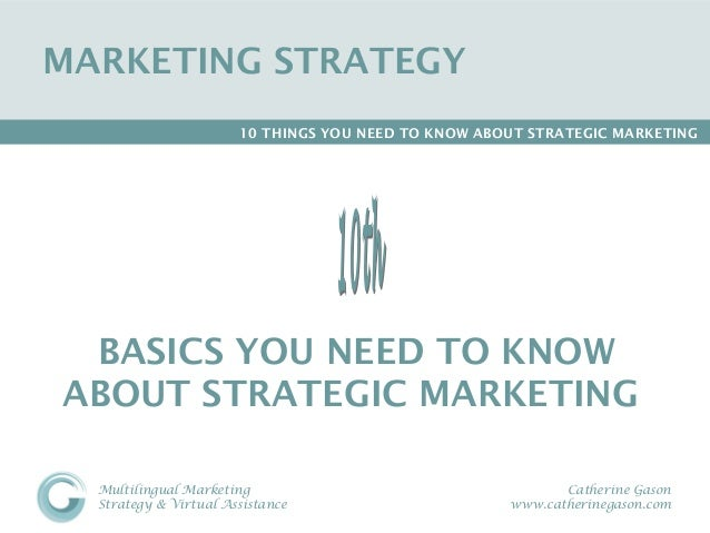 MARKETING STRATEGY                       10 THINGS YOU NEED TO KNOW ABOUT STRATEGIC MARKETING BASICS YOU NEED TO KNOWABOUT...