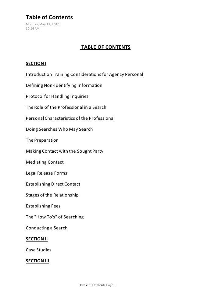 Table of Contents Monday, May 17, 2010 10:16 AM                                   TABLE OF CONTENTS  SECTION I  Introducti...
