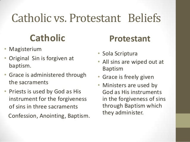 a comparison of the catholic church and the protestant church Differences between christians: catholics, protestants and shortly after the protestant revolution the catholic church set about rectifying the abuses and.