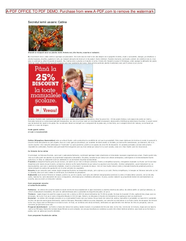 A-PDF OFFICE TO PDF DEMO: Purchase from www.A-PDF.com to remove the watermark           Secretul iernii usoare: Catina    ...