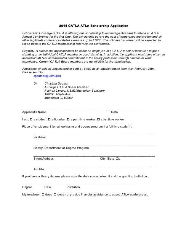 Catla 2014 atla scholarship application