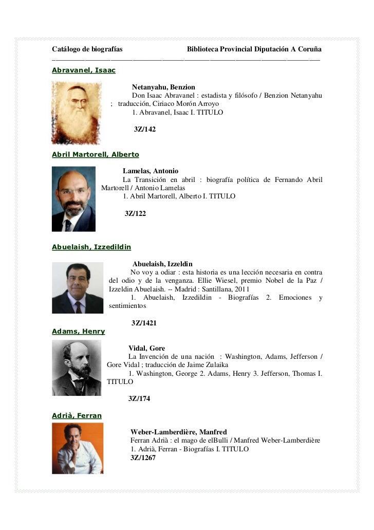 Catálogo biografías